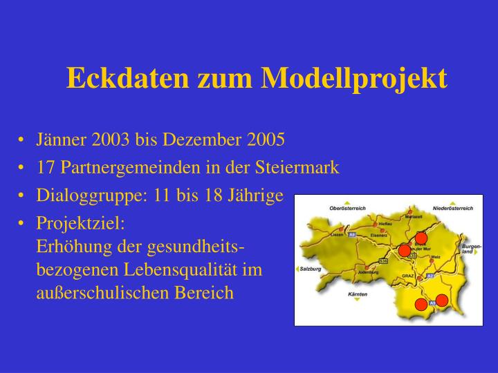 Eckdaten zum Modellprojekt