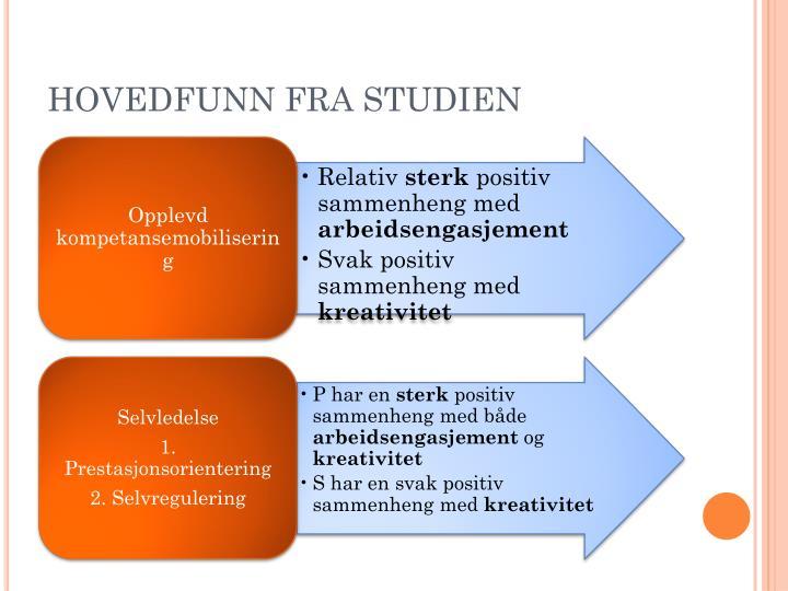 HOVEDFUNN FRA STUDIEN