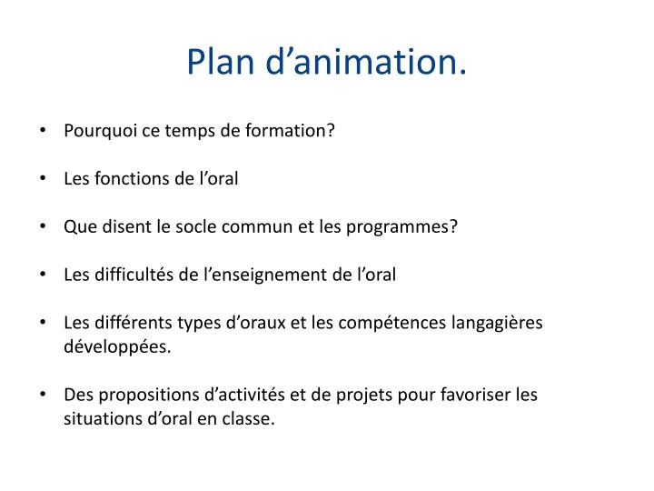 Plan d animation