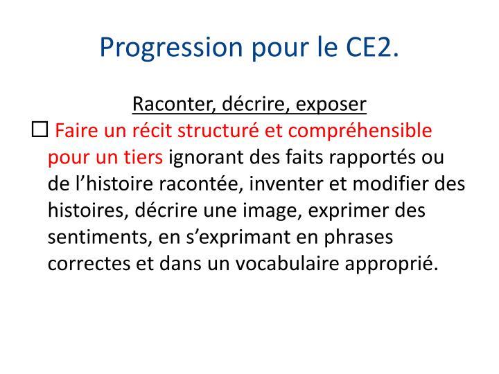 Progression pour le CE2.