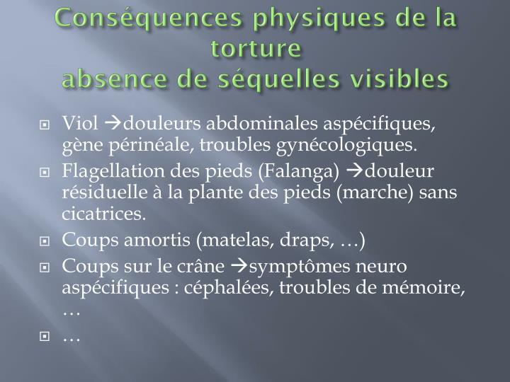 Conséquences physiques de la torture