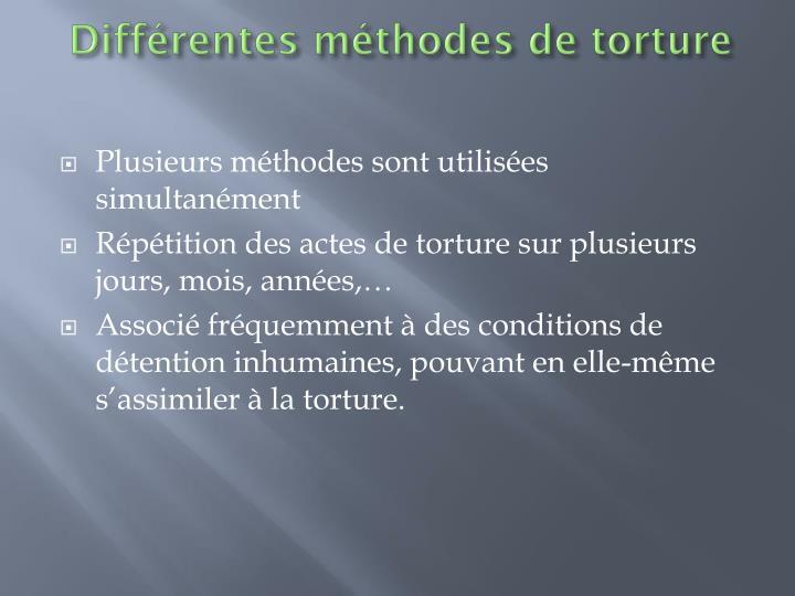 Différentes méthodes de torture