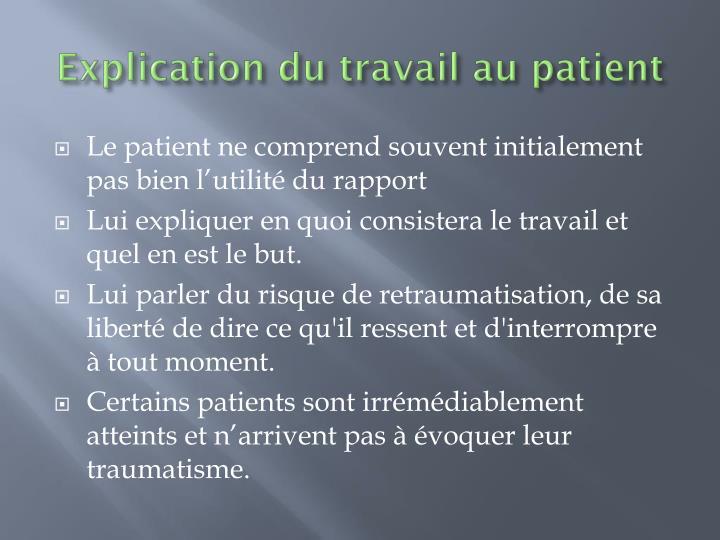 Explication du travail au patient