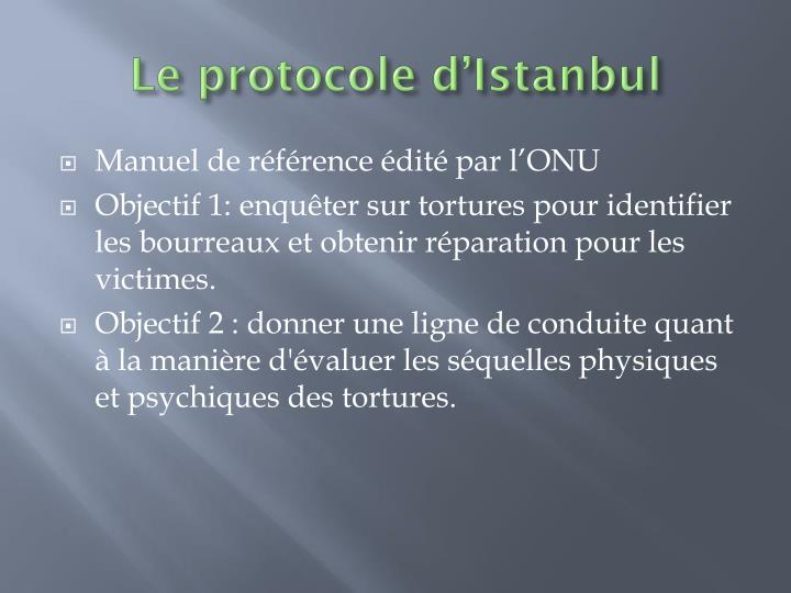 Le protocole d'Istanbul