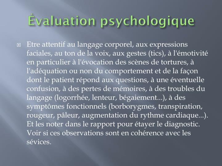 Évaluation psychologique