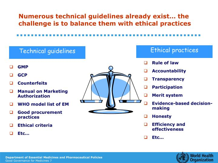 Numerous technical guidelines already exist… the challenge is to balance them with ethical practices