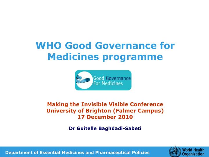 WHO Good Governance for Medicines programme