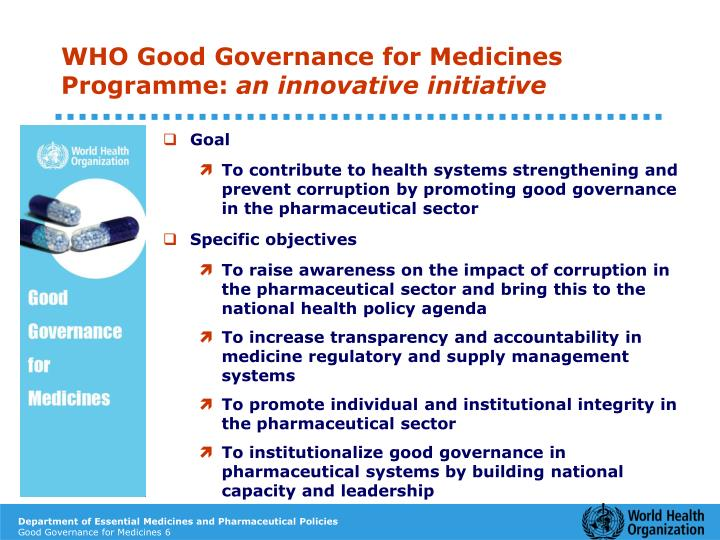 WHO Good Governance for Medicines Programme: