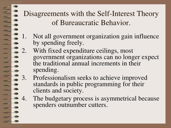 Disagreements with the Self-Interest Theory of Bureaucratic Behavior.