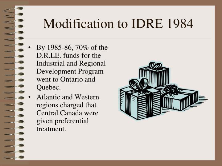 Modification to IDRE 1984