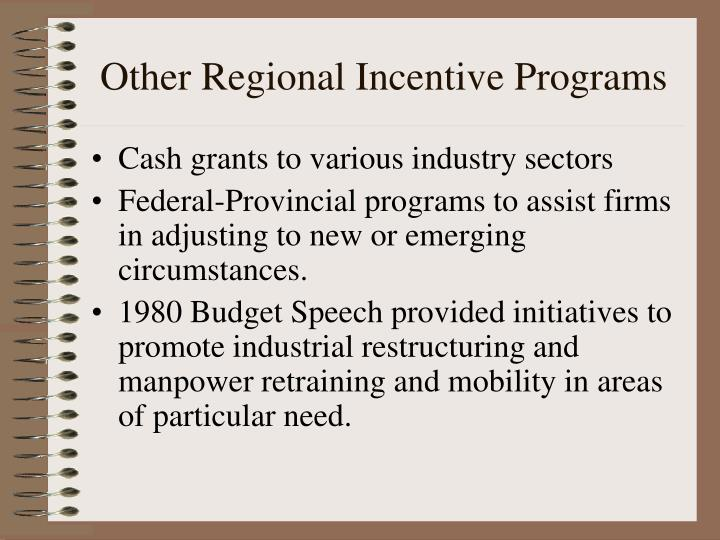 Other Regional Incentive Programs
