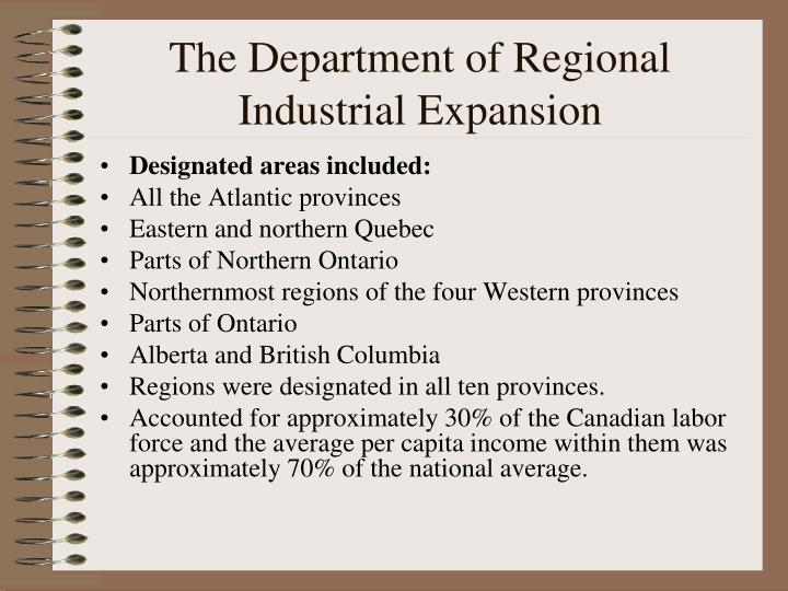 The Department of Regional Industrial Expansion