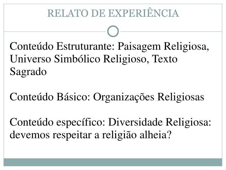 RELATO DE EXPERIÊNCIA
