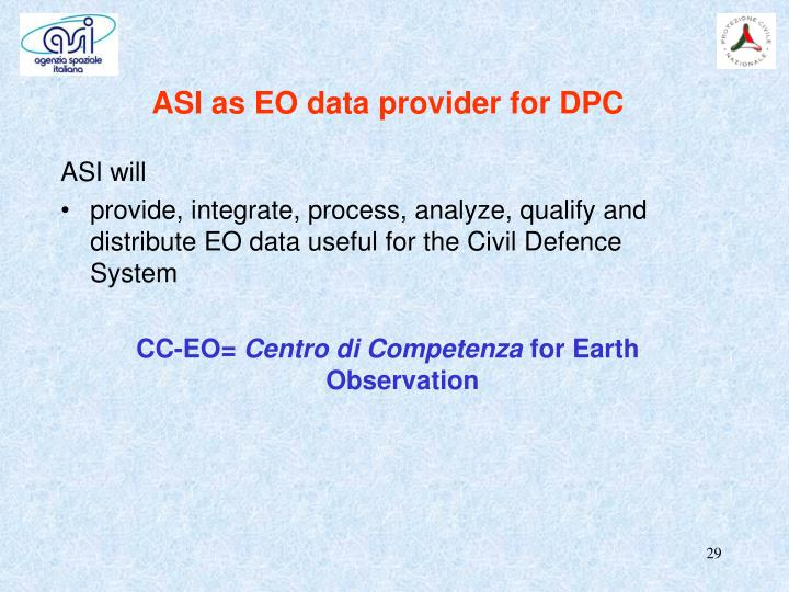 ASI as EO data provider for DPC