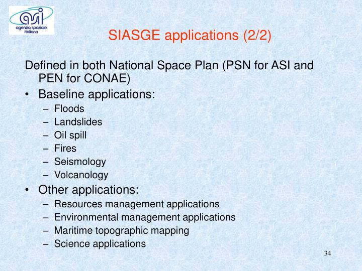 SIASGE applications (2/2)