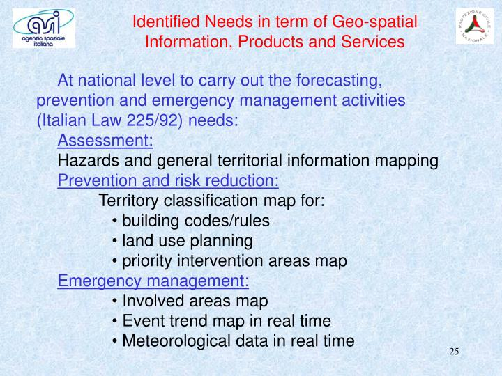 Identified Needs in term of Geo-spatial