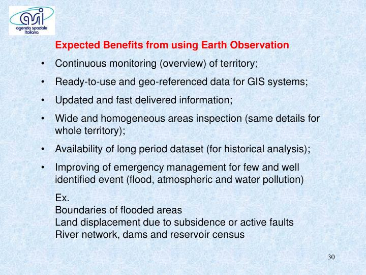 Expected Benefits from using Earth Observation