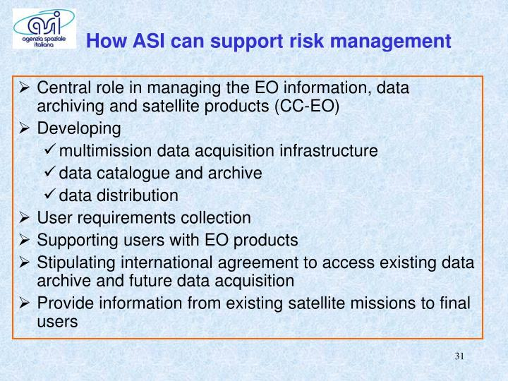 How ASI can support risk management