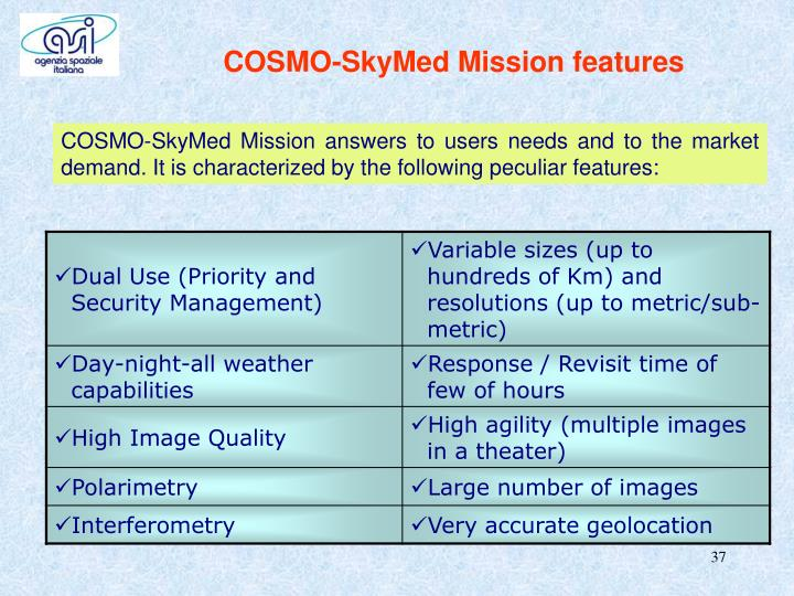 COSMO-SkyMed Mission features