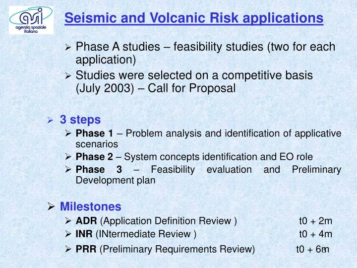 Seismic and Volcanic Risk applications