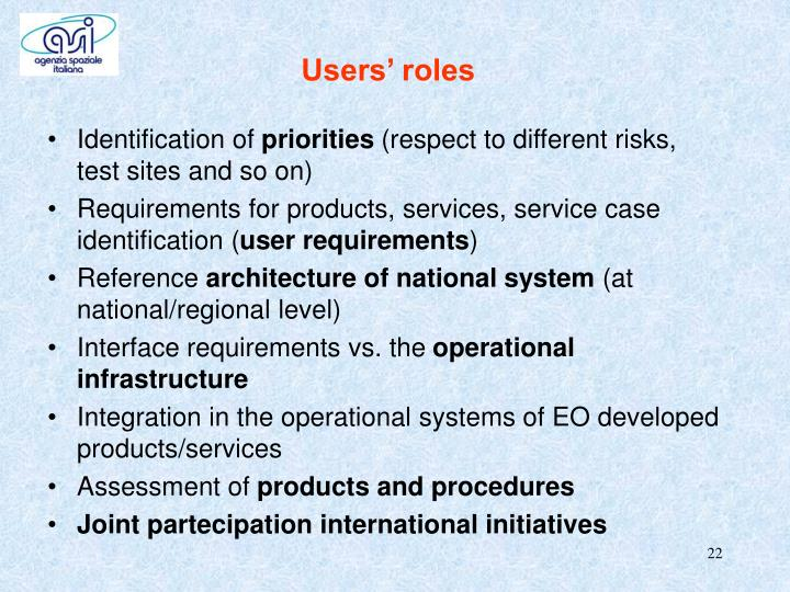 Users' roles