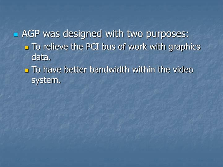 AGP was designed with two purposes: