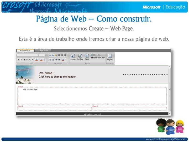 Página de Web – Como construir.