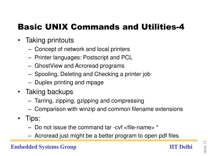 Basic UNIX Commands and Utilities-4
