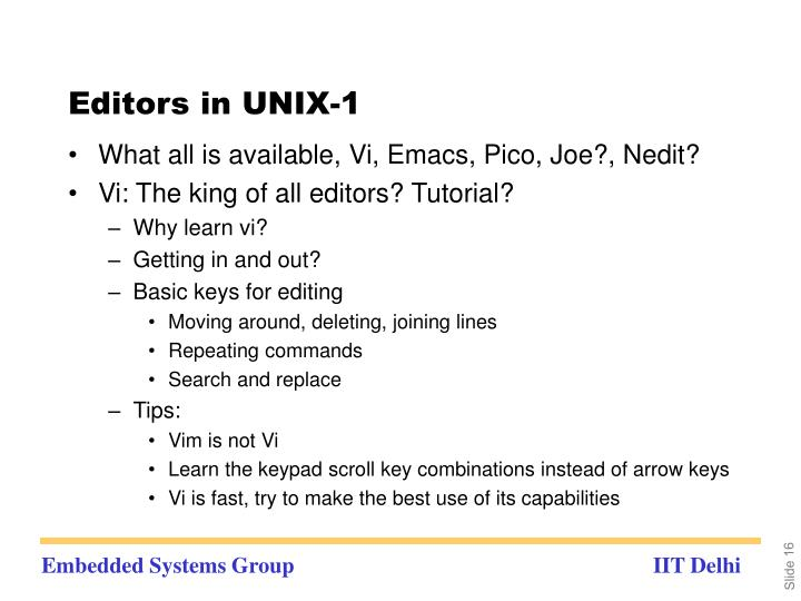 Editors in UNIX-1