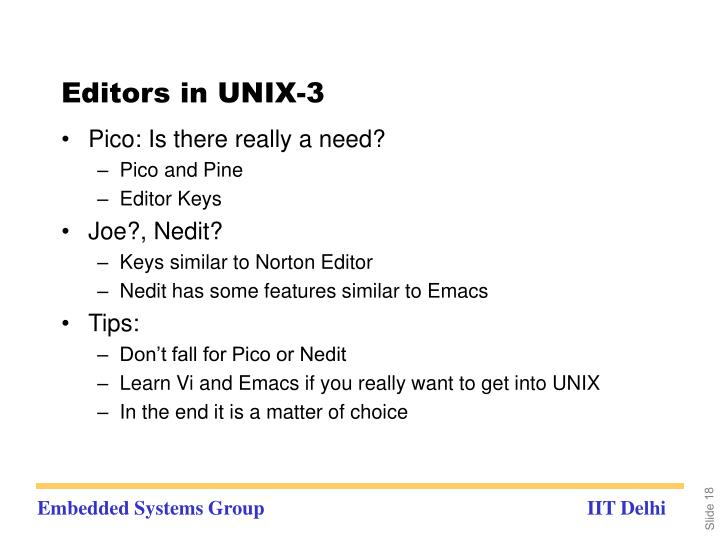 Editors in UNIX-3