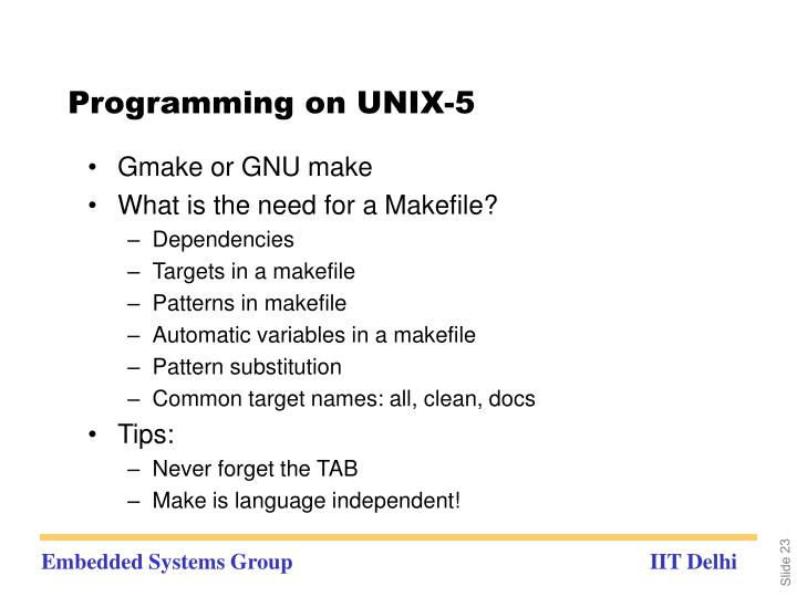 Programming on UNIX-5