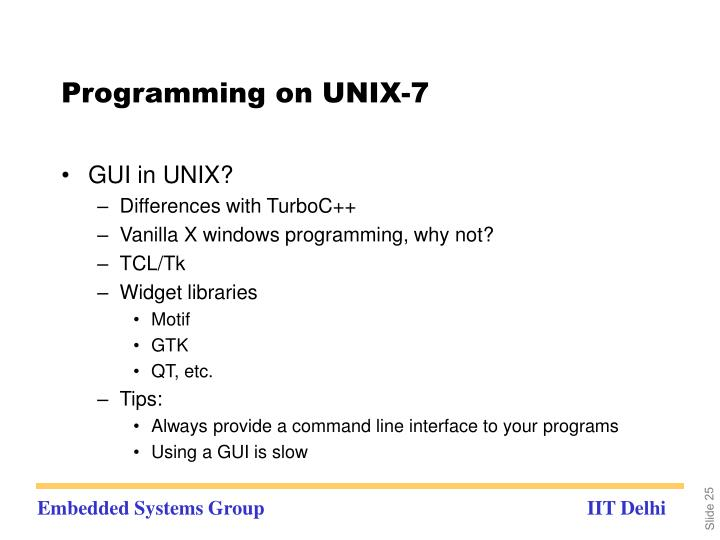 Programming on UNIX-7