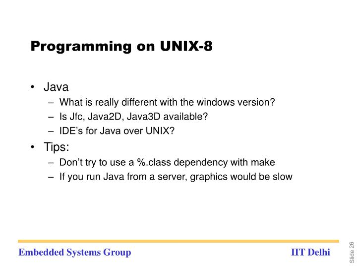 Programming on UNIX-8