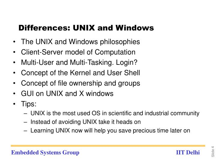 Differences: UNIX and Windows