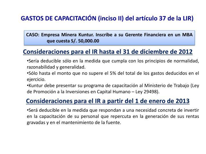 GASTOS DE CAPACITACIÓN (inciso II) del artículo 37 de la LIR)