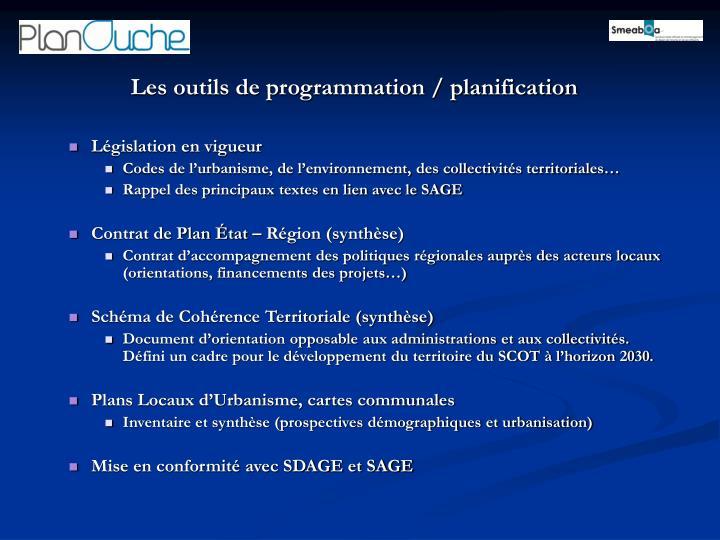 Les outils de programmation / planification