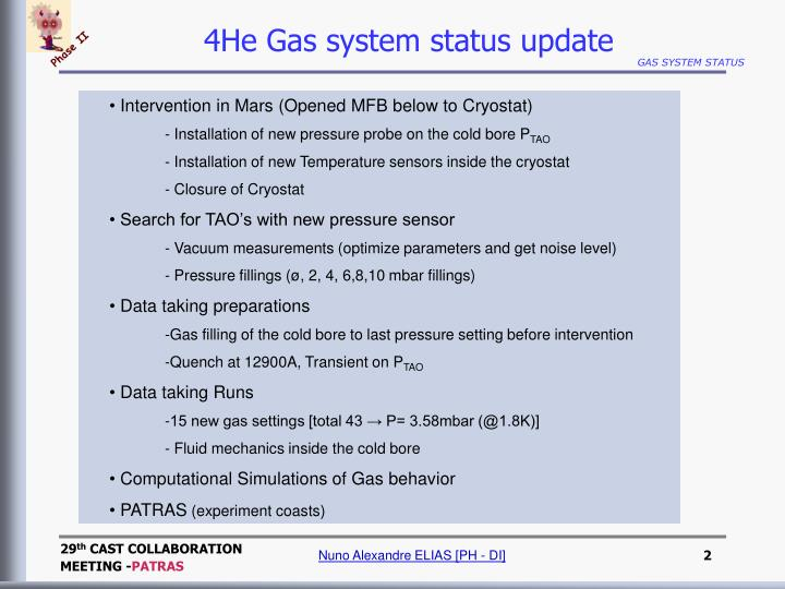 4He Gas system status update