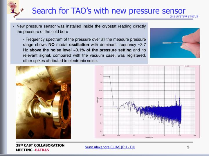 Search for TAO's with new pressure sensor