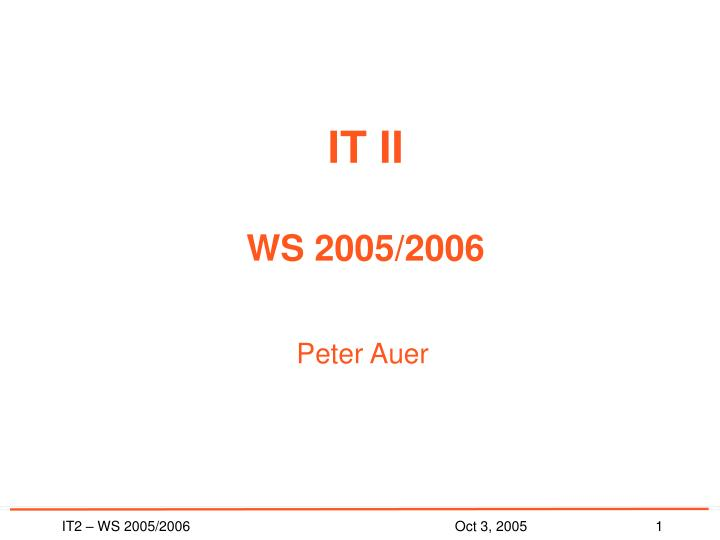 It ii ws 2005 2006