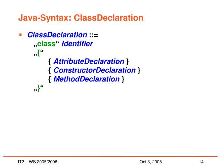 Java-Syntax: ClassDeclaration