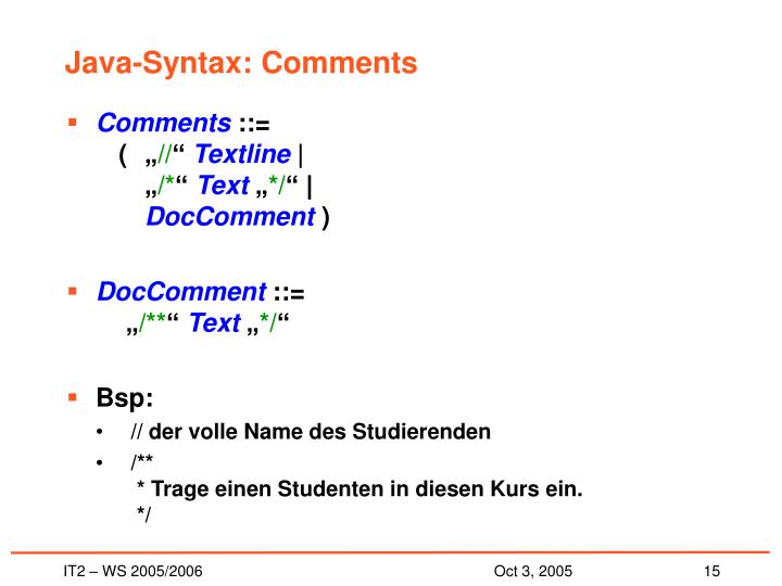 Java-Syntax: Comments