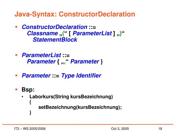 Java-Syntax: ConstructorDeclaration