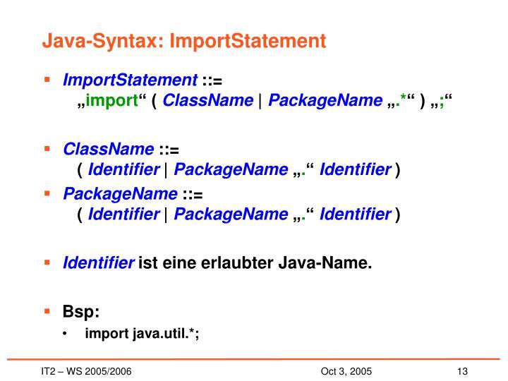 Java-Syntax: ImportStatement