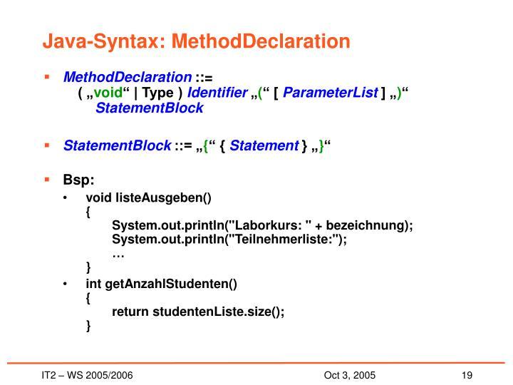 Java-Syntax: MethodDeclaration