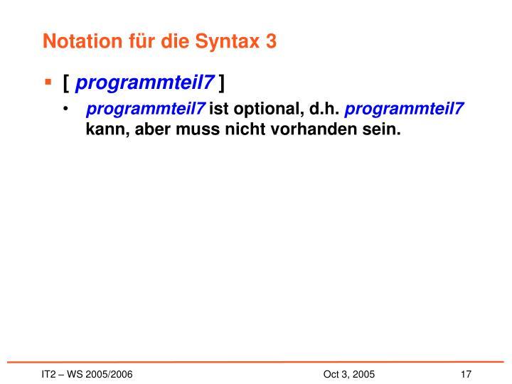 Notation für die Syntax 3