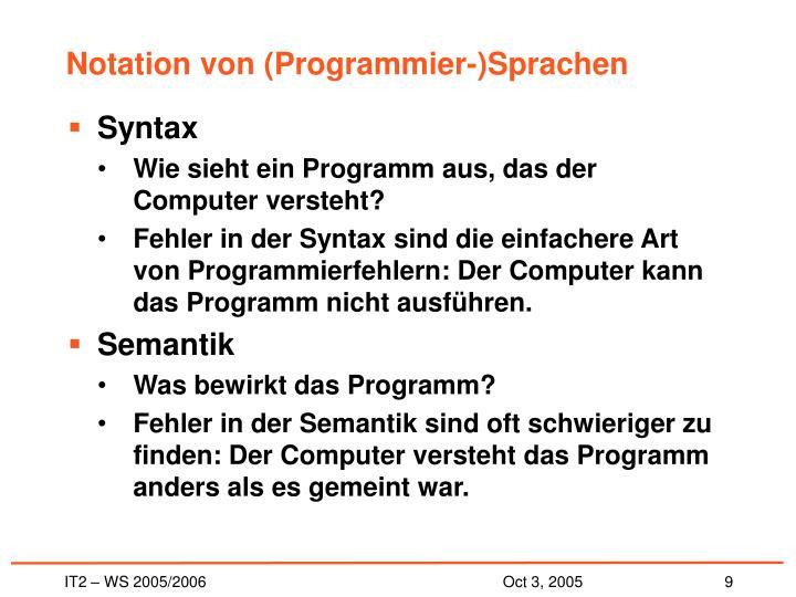 Notation von (Programmier-)Sprachen