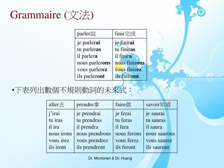 下表列出數個不規則動詞的未來式: