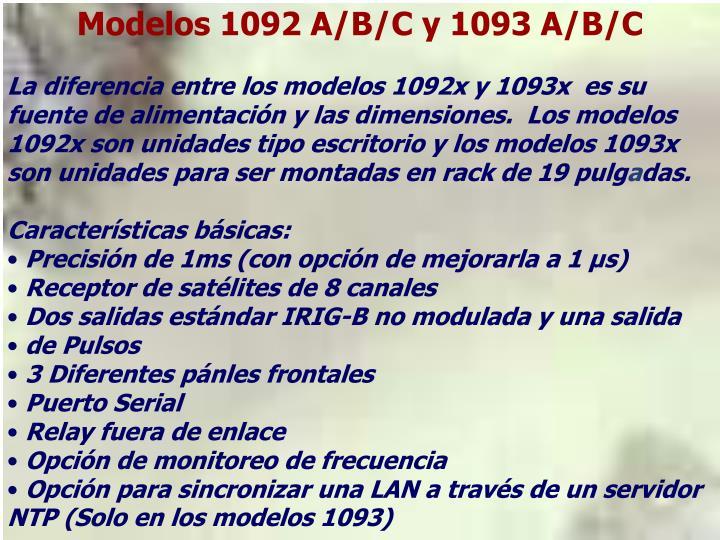 Modelos 1092 A/B/C y 1093 A/B/C