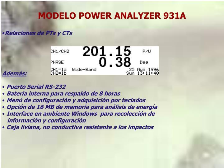 MODELO POWER ANALYZER 931A