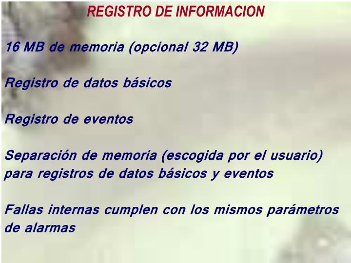 REGISTRO DE INFORMACION